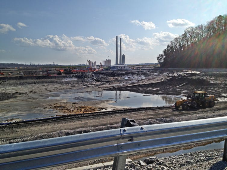TVA Kingston Fossil Plant in Tennessee, site of a 1.1 billion gallon spill of coal ash slurry in 2008, photographed on March 28, 2012. Appalachian Voices, CC BY